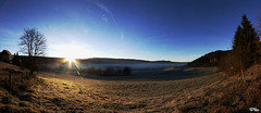 Morteau - Sun Rise (Pito Charles) Tags: blue sky sun reflection field fog sunrise soleil champs bleu ciel fields rise reflexion brouillard champ brume lever givre morteau