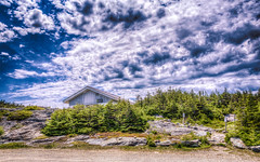 Mt. Mansfield's Visitor Center (Nicholas Erwin) Tags: road blue sky mountain nature clouds landscape outside high nikon vermont mt dynamic center mount toll stowe nikkor range hdr vt mansfield smugglers notch 18105 vistor d7000