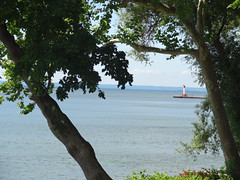 light and shadow (Lovely Pom) Tags: lake water lighthouse frame shadow view trees
