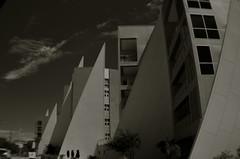 Isoceles City (MPnormaleye) Tags: bw blackwhite patterns designs triangles bizarre design apartments towers polarized utata wideangle lensbaby strange utata:project=tw538