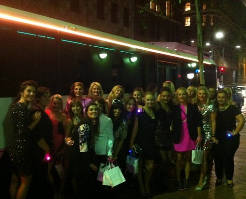 Girls night out in our Pink Party Bus. Party Shuttle on ladies.