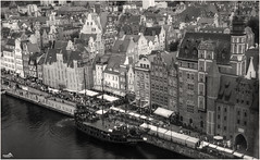 Port of Gdask (VandenBerge Photography) Tags: bramamariacka gdask staramotawa ship balticsea poland pov birdsview oldport river blackandwhite historical medieval mono europe canon travel above houses cityscape city citygate ancienttown