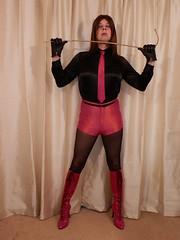Red or Black, I'll decide :) 3 (Karen Brent) Tags: transvestite crossdresser tgirl boots highheels stilettos shorts satin spandex discoshorts discopants leather tights shirt