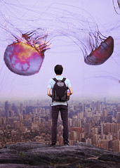 Edge of the Word ((photo)shooting_starr) Tags: boy man human person surreal adventure china guangzhou canton tower jellyfish sea ocean water sky surrealism composite