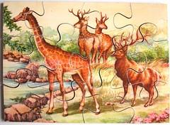 Giraffe und Hirsche (Leonisha) Tags: puzzle jigsawpuzzle wooden holzpuzzle giraffe hirsche