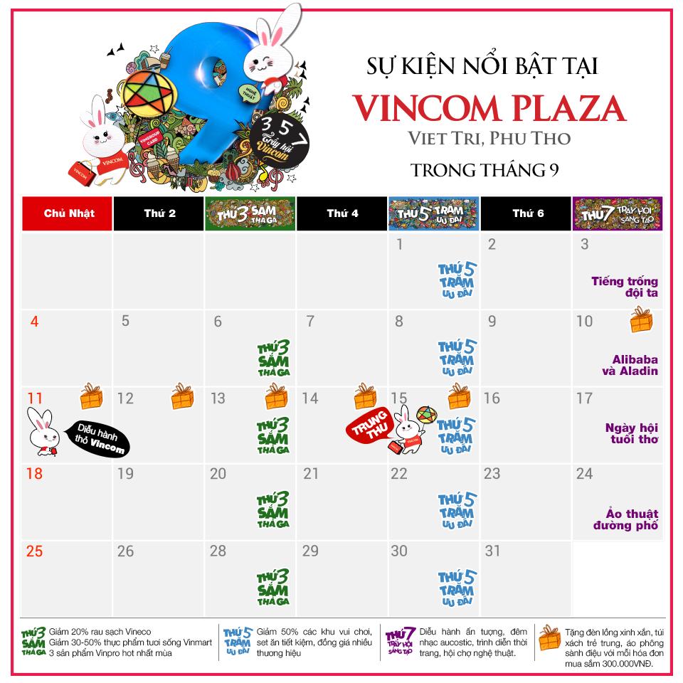 Tháng 9 này, có gì chờ bạn ở Vincom Plaza Việt Trì