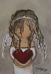 Angel Girl - acrylic painting (thescorpioartist) Tags: angel heaven girl wings love heart acrylicpainting acrylicart artwork creative painting