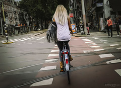 Fringe Benefits (Rolling Spoke) Tags: bike bicycle bici bicicleta bicicletta ciclismo fiets fahrrad velo cycle ride cycling street road tracks lane path lines girl streetphotography chic style fringe leather purse candid blonde dutch depijp amsterdam vsco