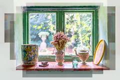 Monk's House, Rodmell (Explored) (hehaden2) Tags: windowsill window vase flowers ornaments nt nationaltrust monkshouse rodmell sussex topazimpression