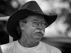 Felt Hat (arbyreed) Tags: arbyreed bw portrait candidportrait hat cowboyhat glasses stash