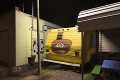 Stoopid Burger (Curtis Gregory Perry) Tags: portland oregon stoopid burger food cart trailer yellow night picnic bench parking lot light gravel nikon d800e restaurant hamburger eating pdx northwest longexposure usa unitedstates america united states