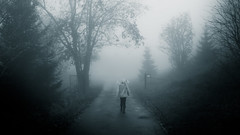 I have a phobia that someone's always there (Bhalalhaika) Tags: fog girl scary fear norway oslo mono