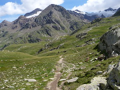 paesaggio al gavia (picciLU) Tags: piccilu alta valtellina cielo nuvole neve montagne sentiero torrente prati sassi