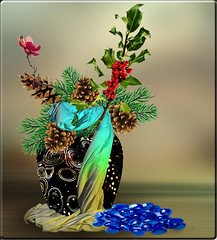 Christmas is approaching (jaci XIII) Tags: christmas flowers party flores natal stones holly festa arrangement pedras pinecones draped pinhas arranjo azevinho drapeado