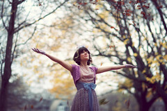 Fancy Free (Julie Lavelle) Tags: park city november autumn trees portrait toronto fall girl leaves canon dance downtown photoshoot arms bokeh 85mm kristin 12 throwing