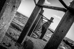 Shoebury Defence Boom (Scott Baldock Photography) Tags: bridge light sea blackandwhite bw beach water dutch wall thames point landscape bay pier vanishingpoint seaside sand mod long angle mud ministry low great pipe boom estuary east thorpe gb lowtide leigh vanishing essex hadleigh leighonsea southend shoeburyness defence submarines garrison eastwood lightroom westcliff southendonsea eastbeach southendpier southchurch chalkwell shoebury paglesham blackwhitephotos wakering prittlewell d5000