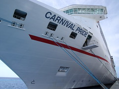 Pride Docked (trainmann1) Tags: bridge cruise carnival blue red white water dock ship fuji pride grandturk massive bow finepix anchor huge handheld bahamas