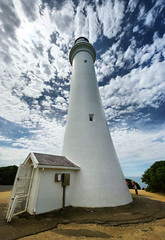 Reach for the Sky (Jumpin'Jack) Tags: ocean blue sea sky lighthouse white tower up clouds lens high angle reaching wide perspective sigma australia victoria shore cape 8mm fairhaven wacky ultra sleek hdr looming msh towering rectilinear aireysinlet splitpoint intothe msh1112 msh11128