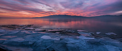 Exploded (Adam's Attempt (at a good photo)) Tags: pink blue sunset red orange cold color reflection ice water colors clouds utah nikon colorful cloudy lakemountain utahlake exploded utahcounty d90 americanfork lr4 utahlakesunset americanforkboatharbor
