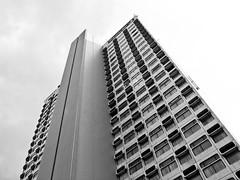 Premier Inn Manchester City MEN/Printworks (Gary Kinsman) Tags: bw tower architecture manchester concrete hotel blackwhite modernism highrise canon350d 2008 canonrebelxt brutalism brutalist northtower sigma18125mm premierinn