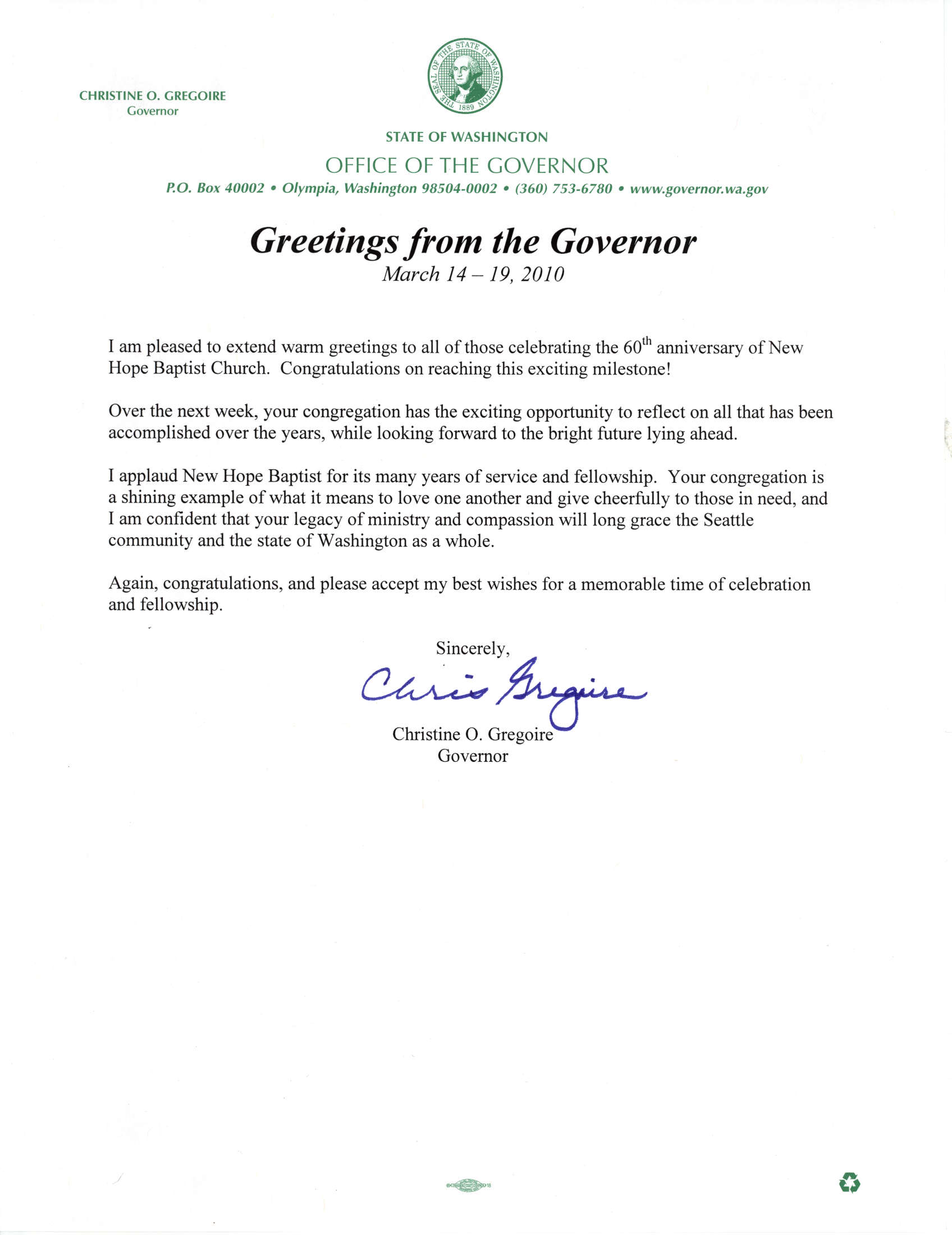 Governor Sends 60th Anniversary Congratulations To New Hope