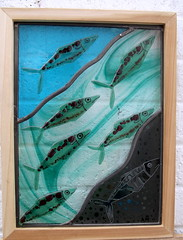 "Shoal, contemporary stained glass panel • <a style=""font-size:0.8em;"" href=""http://www.flickr.com/photos/46452793@N03/8211194769/"" target=""_blank"">View on Flickr</a>"