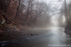 (HisPhotographs.com) Tags: longexposure morning trees fall water fog georgia landscape stream dof helen