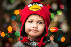 Boy Christmas I (IanDMcGregor) Tags: christmas boy portrait hat ian lights nikon child bokeh owen d800 mcgregor angrybirds touqe