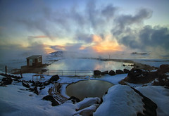 Lake Mývatn Nature Baths in Iceland (` Toshio ') Tags: blue winter sunset sun lake snow hot cold ice nature water pool iceland bath europe european natural freezing fresh steam springs baths bathing hotsprings toshio mývatn lakemyvatn icleand jarðböðin lakex