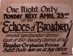 One night only, Apr. 23, Echoes of Broadway