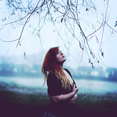 In the Cold (Rebecca Bentliff) Tags: winter selfportrait cold fog framed branches rebeccapalmer