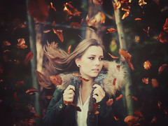 leaf storm. (stefanheider) Tags: wood light portrait woman sun girl beautiful face canon photography 50mm licht photo amazing perfect day foto fotografie dof bokeh tag 14 style sunny best frau manuela sonne wald bltter hairs markii sonnenschein schn hbsch stefanheider