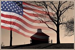 Birth of a Nation (Runemaker) Tags: trees washington cabin pennsylvania silhouettes flags hut revolutionarywar georgewashington valleyforge