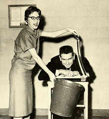 Wittiest, Senior Superlatives, Davie County High School, Mocksville, NC, 1959 (North Carolina Digital Heritage Center) Tags: glasses funny humorous humor highschool trashcan wit witty beheading superlatives guillotine yearbooks annuals behead papercutter garbagepail wittiest seniorsuperlatives mocksvillenc paperguillotine daviecountyhighschool