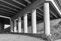 Cathedral 2 (CarusoPhoto) Tags: road street city bridge urban blackandwhite chicago underpass highway cathedral columns overpass suburb caruso wbez chicagopublicradio ef35mmf14lusm canon7d johncaruso carusophoto