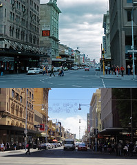 Hindley St - Past & Present (RS 1990) Tags: retro adelaide 1970s southaustralia 2012 beforeafter thennow oldnew pastpresent kingwilliamst thescooterguy digifotovet
