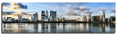 Docklands Panorama ........ (Best viewed Large)... (pete stone) Tags: london thames skyline wow reflections cityscape docklands skyandclouds canarywharf pictureperfect panarama londondocklands canoneos5d creativephotography skyasacanvas eastkentcameras