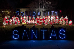 Overpass Light Brigade Wauwatosa, WI.  December 11, 2012. (depthandtime) Tags: santa christmas wisconsin santas led solidarity wauwatosa lightbrigade ledlights litebright olb overpasslightbrigade december112012