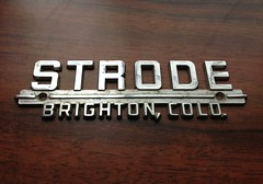 Strode dealer badge (Stewf) Tags: lettering gaspipe chromeography uploaded:by=flickrmobile flickriosapp:filter=nofilter