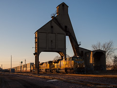 golden hour at the coaling tower (contemplative imaging) Tags: railroad autumn fall up digital train landscape photography golden photo illinois midwest december geneva image diesel photos sub transport railway trains images stack il ill hour transportation unionpacific locomotive imaging e3 dekalb thursday freight lr locomotives coalingtower 43 2012 trainscape eastbound subdivision 3x4 midwestern dekalbcounty intermodal sd70 sd70m diesels lr4 olye3 contemplativeimaging olyhg1454 ronzack 20121213 uprrr cidkup20121213e3 olyhg1454mk2