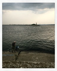 - (dmaltera) Tags: iphone iphonephoto russia landscape sea river  blue sky fisherman