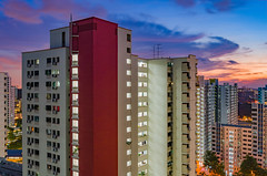 L1001686-HDR (drumbunkerdragon) Tags: leica t summicron 23mm f2 hdr sunset singapore hdb flats bukit panjang nature pretty skies sky clouds cloud light low long exposure 35mm equivalent purple blue orange colorful asian asia high rise apartment building