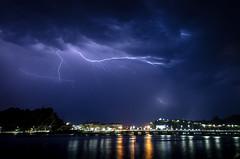 Tormenta en el horizonte (arstxopo) Tags: cantabria nocturna ribadesella agua cielo costa nubes paisaje rayos tormenta