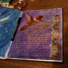 Journaling...Aug. 8, 2016 (Kathryn Zbrzezny) Tags: artjournal artjournaling visualjournal visualdiary journal journalcollage collage pastels write writing handwriting