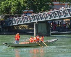 REU785 Isenlaufsteg Bridge over the Reuss River, Bremgarten, Aargau, Switzerland (jag9889) Tags: 2016 20160807 boat bremgarten bridge cantonaargau europe hiking outdoor pedestrianbridge people reuss river switzerland trail waterway jag9889 pontoon
