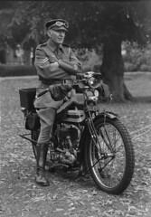 1912 Graflex Auto  - WW1 Machine Gun Corps rider (Ikonta Bloke) Tags: wyndhampark machineguncorps ww1 graflexauto graflex bwfp vintage motorcycle vintagemotorcycle nortonmotorcycle