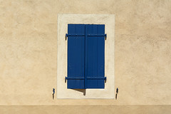 Blue shutters (Jan van der Wolf) Tags: map158352vv blinde luik window ramen raam m minimalism wall muur shadow simple simpel france minimalisme minimlistic minimal minimalistic blue blauw dissymmetry symmetry shutter shutters