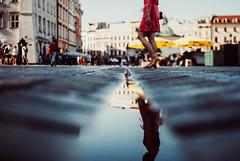 the remainder of the day (ewitsoe) Tags: summer krakow poland reflection tone crakow lady woman polska reflecting gutter ewitsoe nikond80 35mm street urban staryrynek oldmarket morning summery warm hot dress wearing walking saturday dawn sunrise cityscape citylife urbanfeel
