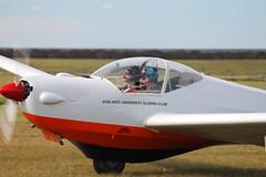 Teal & Leigh ready for takeoff in the motorfalke (submarine_bells) Tags: augc gliding stonefield glider soaring sailplane motorfalke
