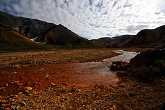The red river, Landmannalaugar (Matteo Andreozzi) Tags:  iceland islande islandia islanda     nature light adventure landscape dream unknown water sun sky earth green blue brown breathe panorama quiet stillness beauty life world paradise black red national geographic colors wilderness mist waterfall river volcano ice snow fire grass wind mistery lava moss hole nile